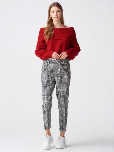 Geruite broek met hoge taille